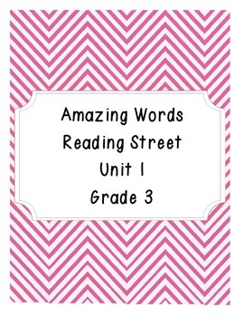 Reading Street Amazing Words Unit 1-Grade 3 (Pink Chevron)
