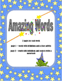 Amazing Words Unit 5 Center Activity or Worksheet