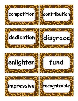 Reading Street Amazing Words Unit 6-Grade 3 (Giraffe Print)