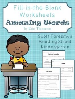 Worksheets for Amazing Words in Scott Foresman Reading Street Kindergarten