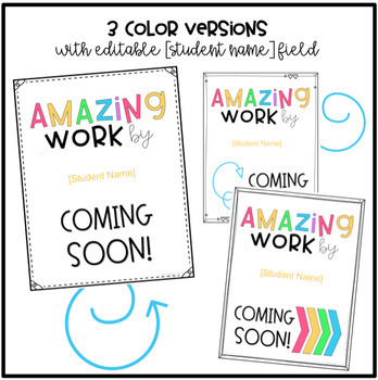 Amazing Work Coming Soon Sign {EDITABLE}