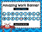 Amazing Work Wall - Bulletin Board - Blue Chevron - Crab - Ocean Theme