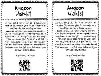 Amazon Class Wish List Holiday Memo