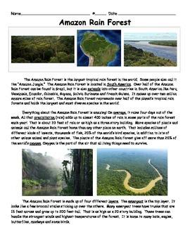 Amazon Rain Forest Informational Text