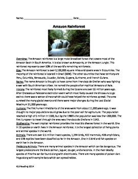 Amazon Rainforest - Facts History Animals - Review Questions Vocab activities