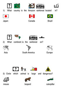 Amazon Rainforest - picture supported text lesson article facts questions PDF