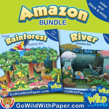 Amazon River and Rainforest Habitat Dioramas | Animal Habitat BUNDLE