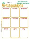 Ambassador Yearly Calendar Girl Scouts Editable Printable PDF Template