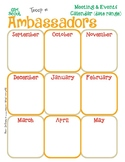 Ambassador Yearly Calendar Girl Scouts Editable Printable