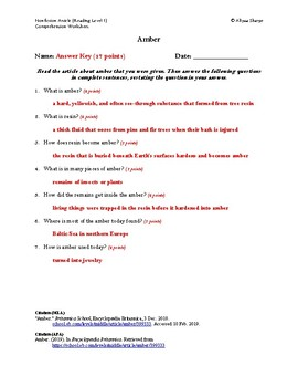 Amber Article (Readiing Level 1) Comprehension Worksheet