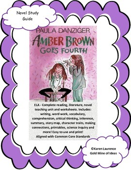 Amber Brown Goes Fourth by Danziger ELA Study Novel Guide Complete Printable