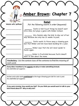 Amber Brown Is Not A Crayon Differentiated Literature Unit