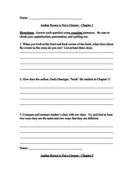 Amber Brown Is Not a Crayon - Guided Reading Questions