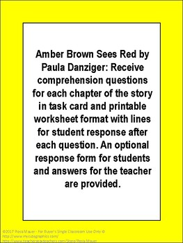 Amber Brown Sees Red Book Unit