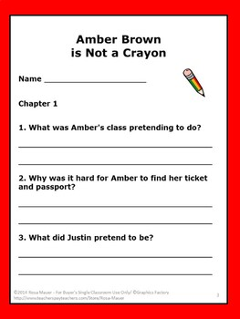 Amber Brown is Not a Crayon Literacy Unit