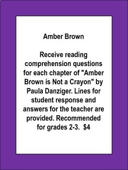 Amber Brown is Not a Crayon Guided Reading