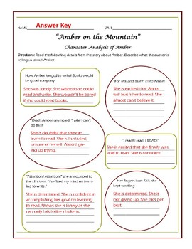 Amber on the Mountain Character Analysis