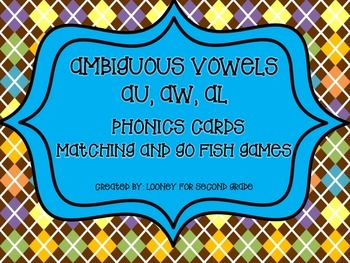 Ambiguous Vowels (aw, au, al) Memory Match and Go Fish Cards