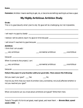 Ambition Character Lesson Plan