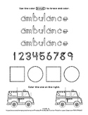 Ambulance - 1 page worksheet - Distance Learning