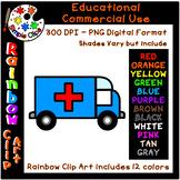 Ambulance / Vehicle - Rainbow Clipart - 12 Colors -Commerc