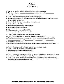 Ambush by Tim O'Brien Complete Guided Reading Worksheet
