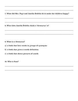 Amelia Bedelia Bookworm- Comprehension Questions