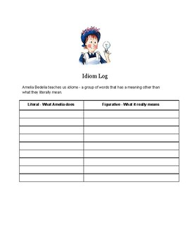 Amelia Bedelia Idiom Log