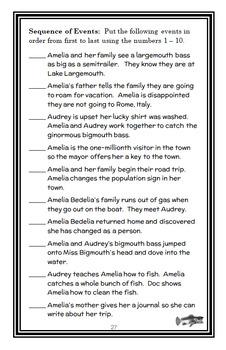 Amelia Bedelia Road Trip! (Herman Parish) Novel Study / Reading Comprehension