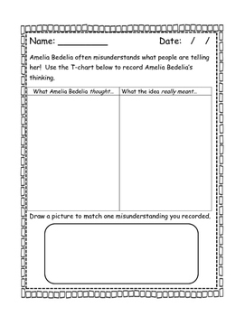 Amelia Bedelia T-Chart (Guided Reading)