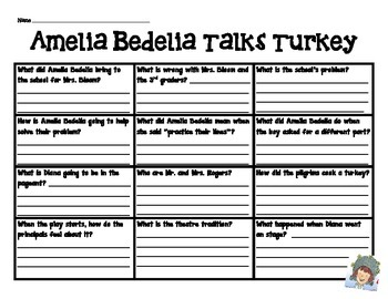 Amelia Bedelia Talks Turkey Comprehension Chart
