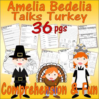 Amelia Bedelia Talks Turkey Thanksgiving Comprehension Book Study Pack 18pg