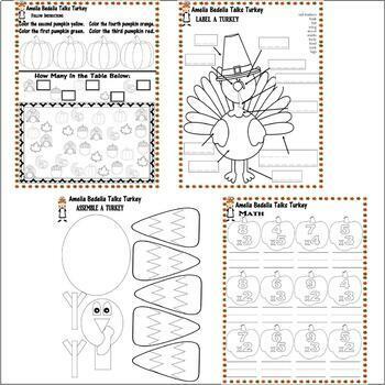 Amelia Bedelia Talks Turkey Thanksgiving Comprehension Book Study Pack 18pg