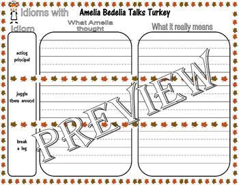 Amelia Bedelia Talks Turkey Thanksgiving : Idiom Worksheet Page