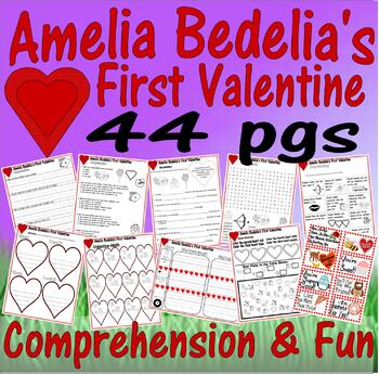 Amelia Bedelia's First Valentine Reading Comprehension 25pg Packet LINED PAPER