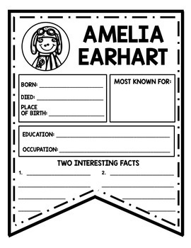 Amelia Earhart Research Activity Sheets and Graphic Organizers