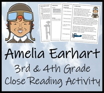 Amelia Earhart - 3rd & 4th Grade Close Reading Activity