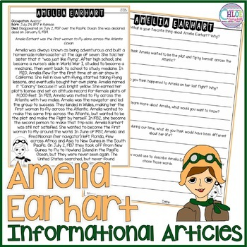 Amelia Earhart Article FREEBIE!
