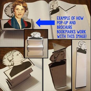 Amelia Earhart Biography Research, Bookmark Brochure, Pop-Up, Writing