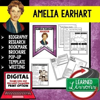 Amelia Earhart Biography Research, Bookmark Brochure, Pop-
