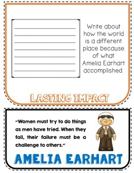 Amelia Earhart Biography Research Project, Flip Book, Women's History Month