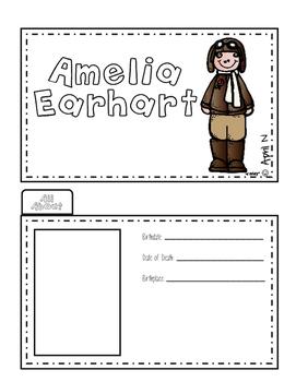 Amelia Earhart Biography Writing Tab Book