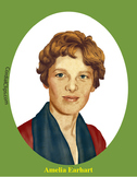Amelia Earhart Realistic Clip Art, Coloring Page and Poster