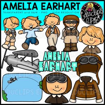 Amelia Earhart Clip Art Bundle {Educlips Clipart}