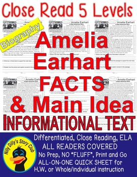 Amelia Earhart CLOSE READING 5 LEVEL PASSAGES Main Idea Fluency Check TDQ & More