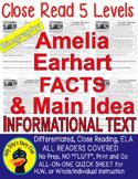 Amelia Earhart CLOSE READING 5 LEVEL PASSAGES Main Idea Fl