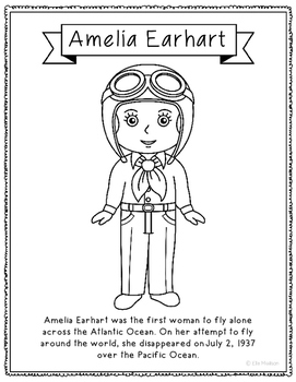 Amelia Earhart Coloring Page Craft or Poster with Mini Biography, Pilot