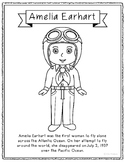 Amelia Earhart Coloring Page Craft or Poster with Mini Bio