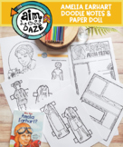 Amelia Earhart Doodle Notes, Coloring Page and Paper Doll