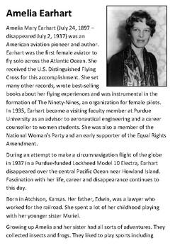 Amelia Earhart Handout